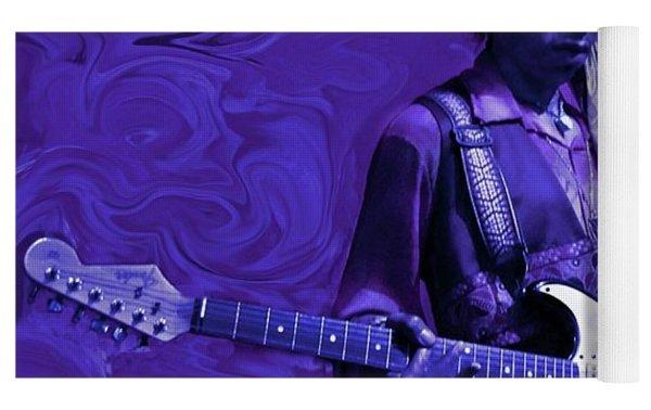 Jimi Hendrix Purple Haze Yoga Mat by David Dehner