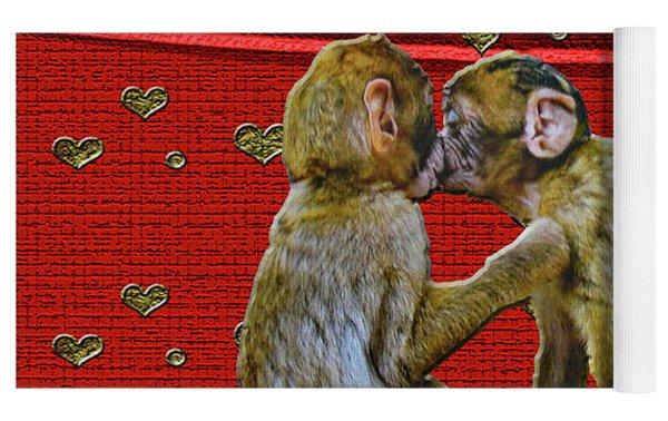 Kissing Chimpanzees Hearts Yoga Mat by Rockin Docks Deluxephotos
