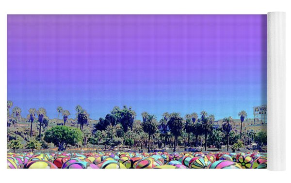 Los Angeles Glows In The Spheres Of Macarthur Park Yoga Mat by Lorraine Devon Wilke