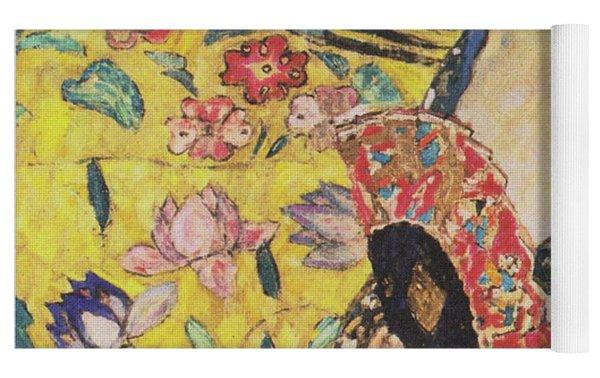 Lady With Fan Yoga Mat by Gustav Klimt