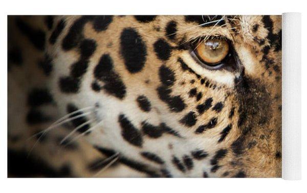 Leopard Face Yoga Mat by John Wadleigh