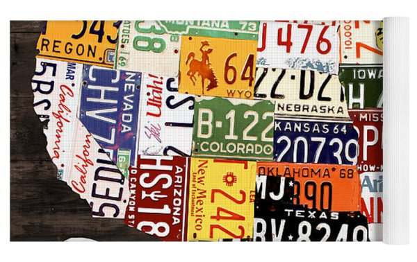 License Plate Map Of The United States - Warm Colors / Black Edition Yoga Mat