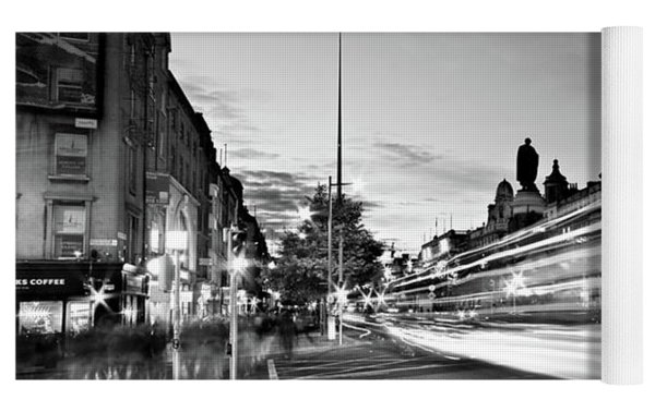 Light Trails On O'connell Street At Night - Dublin Yoga Mat by Barry O Carroll