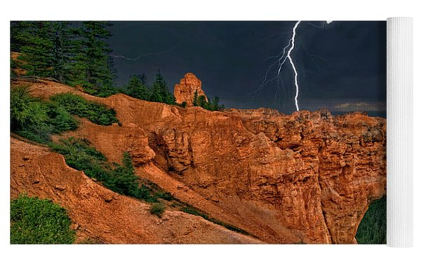 Lightning Over Natural Bridge Formation Bryce Canyon National Park Utah Yoga Mat by Dave Welling