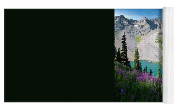 Lower Blue Lake Summer Portrait Yoga Mat by Cascade Colors