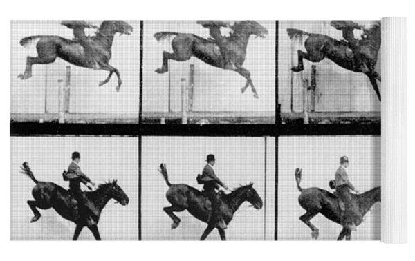 Man And Horse Jumping Yoga Mat
