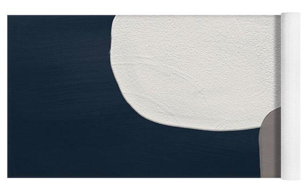 Modern Stones Navy 1- Art By Linda Woods Yoga Mat by Linda Woods