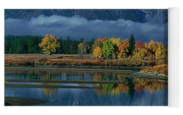 Morning Cloud Layer Oxbow Bend In Fall Grand Tetons National Park Yoga Mat by Dave Welling