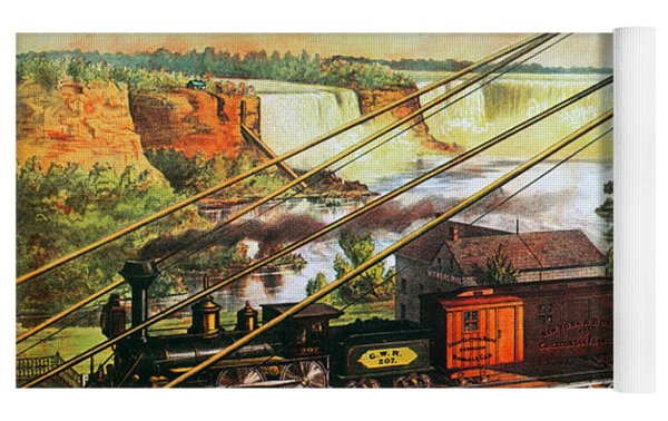 Niagara Falls Bridge, 1876 Yoga Mat by Granger