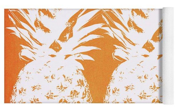 Orange And White Pineapples- Art By Linda Woods Yoga Mat by Linda Woods