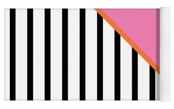 Pink And Orange And Black Geometric Yoga Mat by Linda Woods