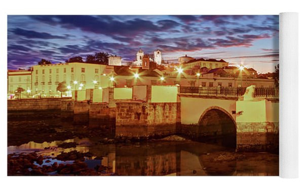Ponte Romana At Dusk - Tavira, Portugal Yoga Mat by Barry O Carroll