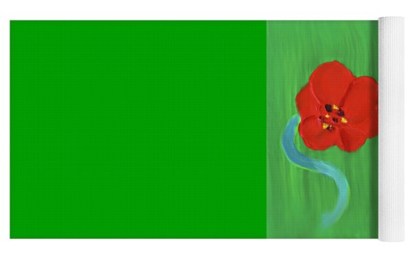 Popping Poppy 1 Yoga Mat by Deborah Boyd