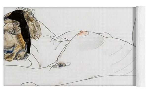 Reclining Female Nude Yoga Mat
