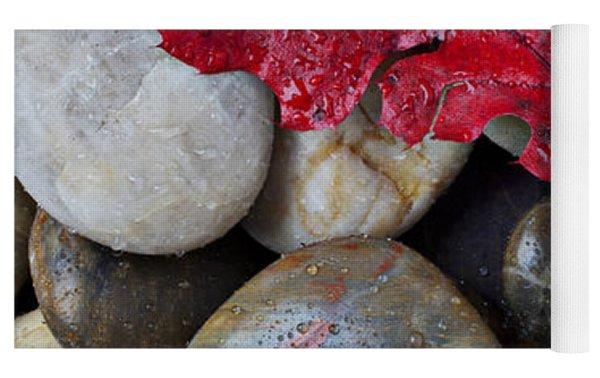 Red Leaf Wet Stones Yoga Mat