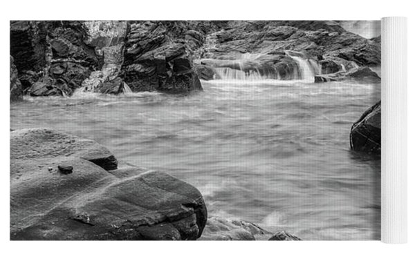 Rocky Coast Of Maine In Bw Yoga Mat by Doug Camara