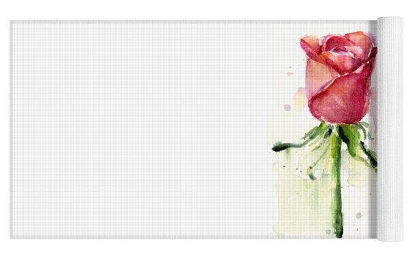 Rose Watercolor Yoga Mat