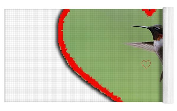 Ruby-throated Hummingbird In Heart Yoga Mat by Dan Friend