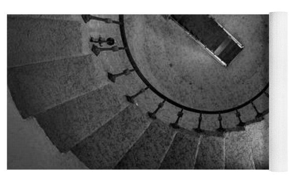 Scottys Castle Stairwell B W Yoga Mat