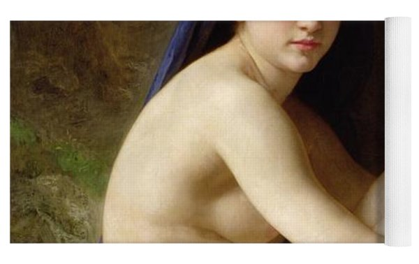 Seated Nude Yoga Mat by William Adolphe Bouguereau