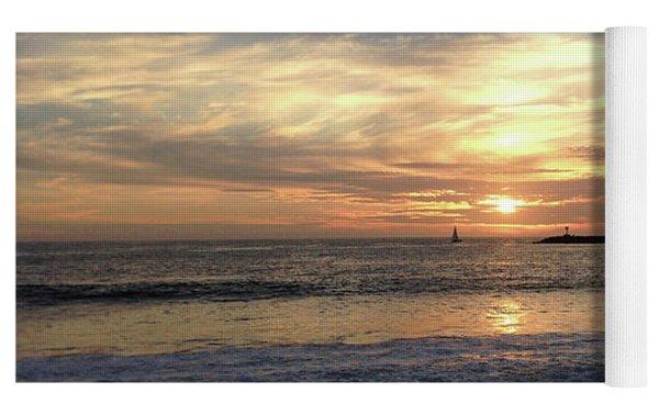 Sky Swirls Over Toes Beach Yoga Mat by Lorraine Devon Wilke