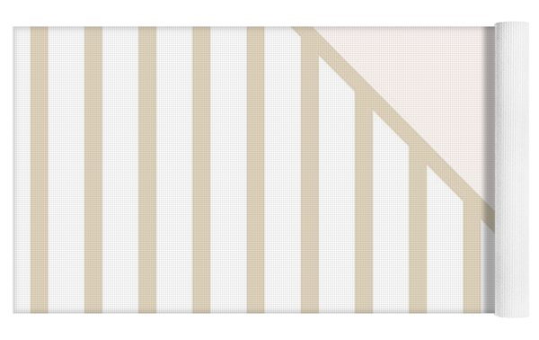 Soft Blush And Champagne Stripe Triangles Yoga Mat by Linda Woods