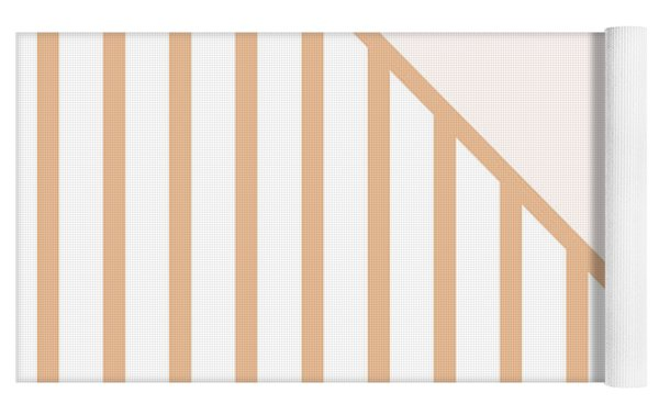 Soft Blush And Coral Stripe Triangles Yoga Mat by Linda Woods