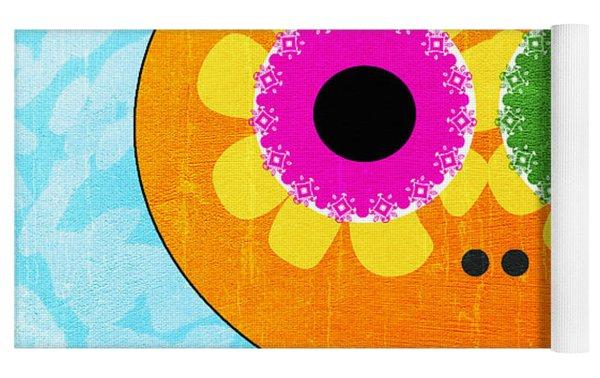 Sugar Skull Orange And Blue Yoga Mat