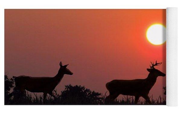 Sunset Silhouette Yoga Mat by David Dehner