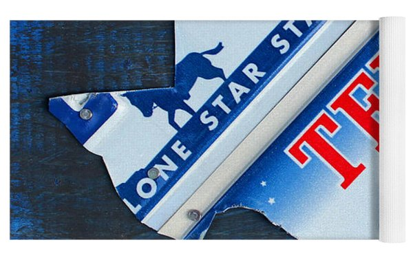 Texas License Plate Map Yoga Mat
