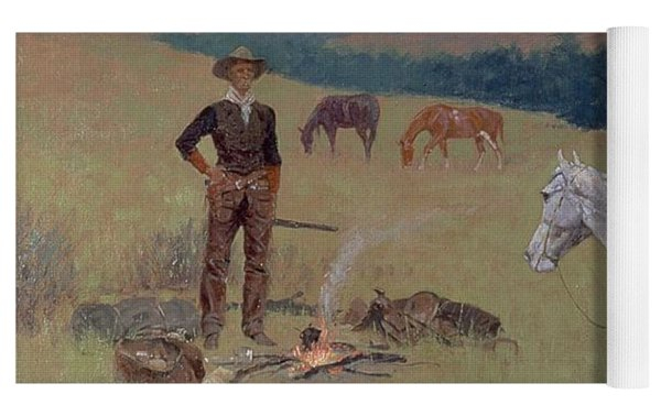 The Conversation Yoga Mat by Frederic Remington