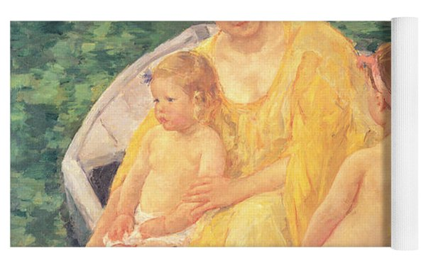 The Swim Or Two Mothers And Their Children On A Boat Yoga Mat by Mary Stevenson Cassatt