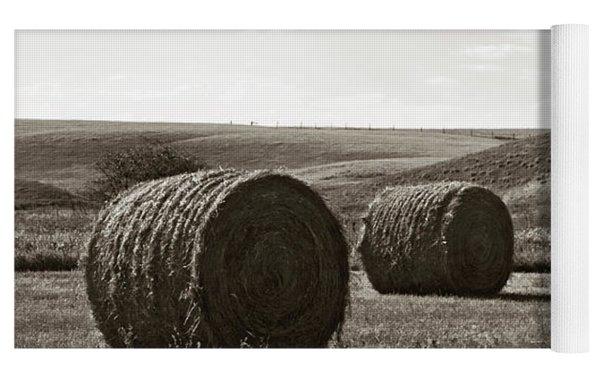 Three Rolls Of Hay Yoga Mat by Lorraine Devon Wilke
