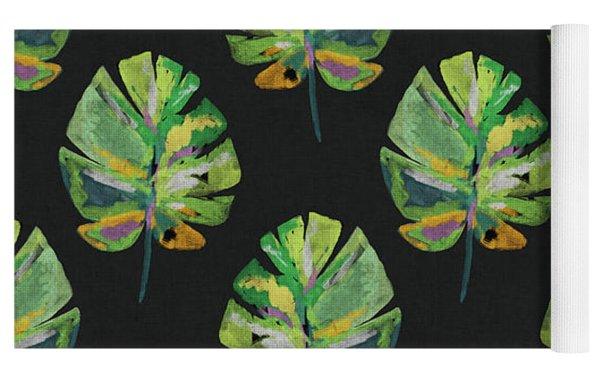 Tropical Leaves On Black- Art By Linda Woods Yoga Mat