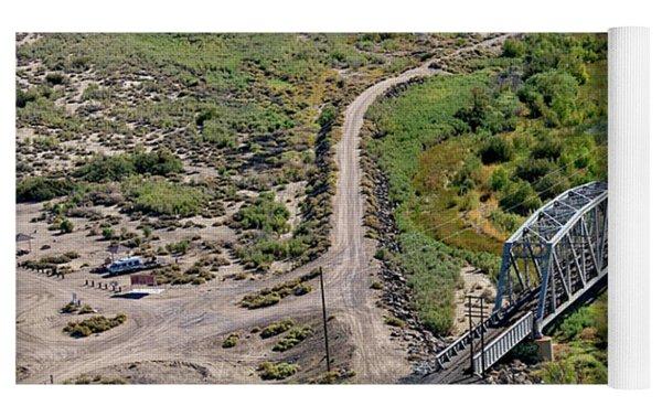 Up Tracks Cross The Mojave River Yoga Mat by Jim Thompson