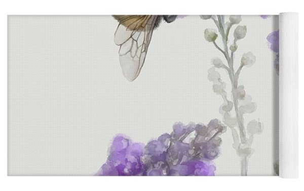 Watercolor Bumble Bee Yoga Mat by Ivana Westin