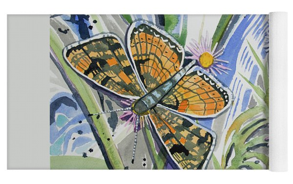 Watercolor - Checkerspot Butterfly With Wildflowers Yoga Mat by Cascade Colors