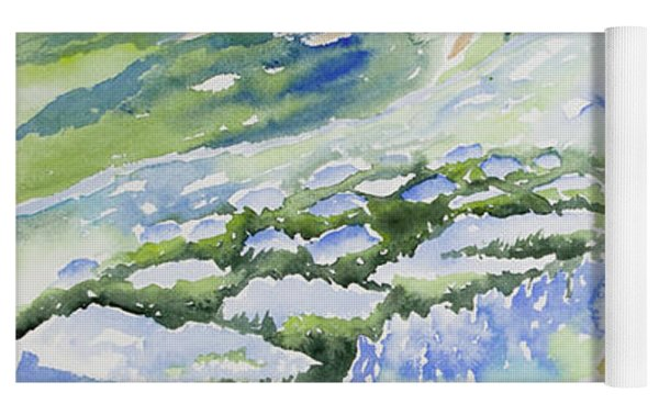 Watercolor - Crested Butte Lupine Landscape Yoga Mat by Cascade Colors