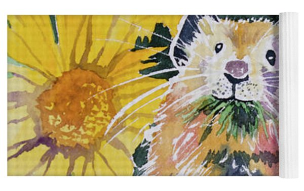 Watercolor - Pika With Wildflowers Yoga Mat by Cascade Colors