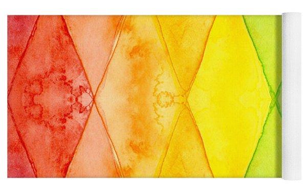 Watercolor Rainbow Pattern Geometric Shapes Triangles Yoga Mat by Olga Shvartsur