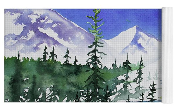 Watercolor - Sunny Winter Day In The Mountains Yoga Mat by Cascade Colors