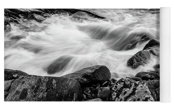 Waves Against A Rocky Shore In Bw Yoga Mat by Doug Camara