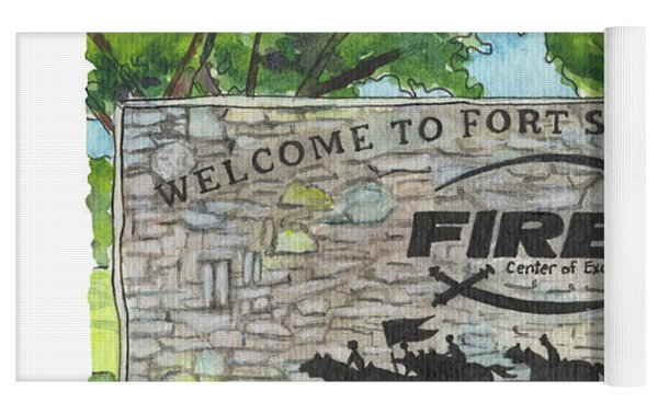 Welcome Sign Fort Sill Yoga Mat by Betsy Hackett