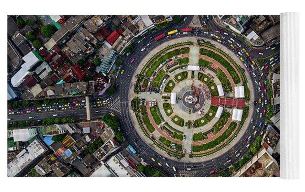 Wongwian Yai Roundabout Surrounded By Buildings, Bangkok Yoga Mat by Pradeep Raja PRINTS