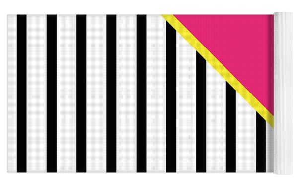 Yellow Pink And Black Geometric 2 Yoga Mat by Linda Woods