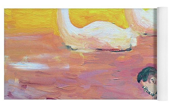 Yellow Swans With Love Potions Yoga Mat by Rene Capone