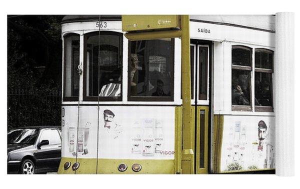 Yellow Tram, Lisboa Yoga Mat by Lorraine Devon Wilke