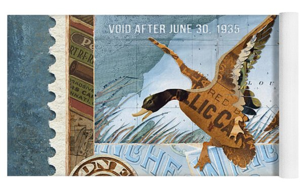 1934 Hunting Stamp Collage Yoga Mat by Clint Hansen
