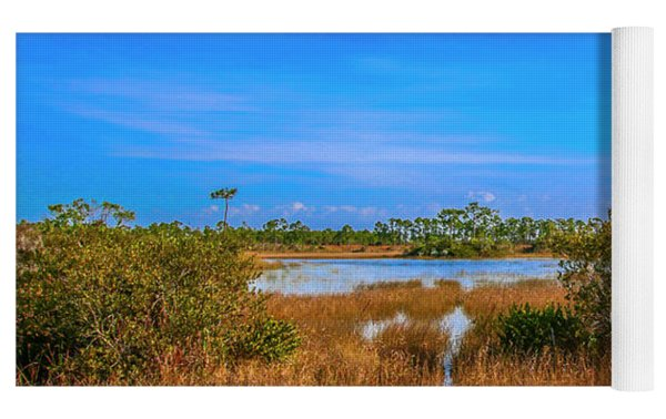 Blue Sky And Marsh Yoga Mat by Tom Claud