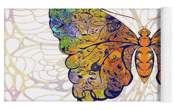 Butterfly Zen Meditation Abstract Digital Mixed Media Artwork By Omaste Witkowski Yoga Mat by Omaste Witkowski